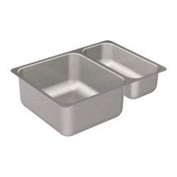 Moen - Moen 2000 Series 20 Gauge Stainless Steel Double Bowl Sink with Small Prep Sink - Moen G20273 2000 Series 20 Gauge Stainless Steel Double Bowl Sink with Small Prep Sink, Stainless