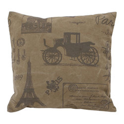 Benzara - Decorative Pillow with Eiffel Tower and Vintage Car Print - This deep brown colored pillow is sure to match your room interiors. It is easy to wash and maintain as it is crafted from premium cotton. It is designed to match all modern interiors and offers a new and rich appeal. To give your old interiors at home a new lease of life, this fabric pillow makes for a great addition. It showcases great workmanship with its innovative design of Eiffel tower and a vintage car on it. This fabric pillow is a wonderful addition to any interiors as it matches any interior setting.