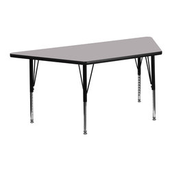 Flash Furniture - Flash Furniture 30 x 60 Trapezoid Activity Table with Laminate Top - Flash Furniture's XU-A3060-TRAP-GY-T-A-GG warp resistant thermal fused laminate trapezoid activity table features a 1.125'' top and a thermal fused laminate work surface. This Trapezoid Laminate activity table provides a durable work surface that is versatile enough for everything from computers to projects or group lessons. Sturdy steel Legs adjust from 21.125'' - 30.125'' high and have a brilliant chrome finish. The 1.125'' thick particle board top also incorporates a protective underside backing sheet to prevent moisture absorption and warping. T-mold edge banding provides a durable and attractive edging enhancement that is certain to withstand the rigors of any classroom environment. Glides prevent wobbling and will keep your work surface level. This model is featured in a beautiful Grey finish that will enhance the beauty of any school setting. [XU-A3060-TRAP-GY-T-A-GG]