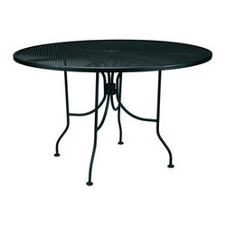 """Meadowcraft - Meadowcraft Wrought Iron 36 Round Micro Mesh Dining Table with Umbrella Hole - Meadowcraft is a leading domestic manufacturer of quality wrought iron furniture and cushions located in Wadley Alabama.  With traditional and post war modern styles utilizing subtle understated designs Meadowcraft furniture is an excellent addition to any home. Whether choosing the deep seating comfort of a cushioned loveseat or the comfortable durability of a commercial grade mesh bistro chair you are invited to relax in all of Meadowcrafts products.  Meadowcraft takes the """"made in the U.S.A."""" label seriously and strives to exceed its perceived responsibilities to their customers and community.  Features include Made of extremely durable wrought iron material Hand formed by skilled craftsmen to insure the strongest furniture in the industry Offered in wide selection of powder coated finishes manufactured to prevent rust Round slick shape Metal table top Available umbrella hole Commercial Grade."""