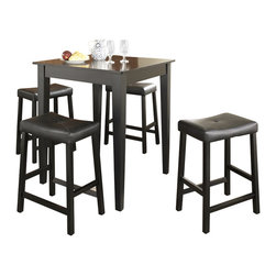 Crosley Furniture - 5 Pc Pub Dining Set w Tapered Leg and Saddle - Includes Pub Table and 4 Stools in Black. Solid Hardwood & Veneer Construction Table . Solid Hardwood Stools. Hand Rubbed, Multi-Step Finish. Solid Hardwood Tapered Legs. Durable Stain Resistant Faux Leather PVC Seat. Table Dimensions: 36 in. H x 32 in. W x 32 in. D. Stool Dimensions: 24 in. H x 11.5 in. D x 17.75 in WConstructed of solid hardwood and wood veneers, the 5 piece Pub / High Dining set is built to last. Whether you are looking for dining for four, or just a great addition to the basement or bar area, this set is sure to add a touch of style to any area of your home.