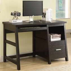 """Monarch - Cappuccino 48""""L Computer Desk With A Storage Drawer - Are you looking for an all in one work station? Well, look no further! This sleek yet regal work station offers a large pull out keyboard tray, deep file folder drawer and an open storage bin for supplies. Add this functional desk to any room in your home. Great for small rooms, apartments, kitchens and students.; Material: Wood, Grass; Dimensions: 47.25""""L x 24""""W x 30.75""""H"""