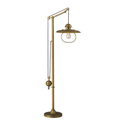 ELK - ELK 65101-1 Floor Lamp - Inspired By Antique Lighting, This Series Recalls Turn-Of The Century Design Where Simple Aesthetics And Mechanical Function Combined To Create Charming, Yet Versatile Fixtures. These Classic Pull-Downs Have A Decorative Weight That Counterbalances The Fixture For Easy Height Adjustability Anytimeby Simply Pulling Down Or Lifting Up On The Fixture.