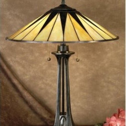 Quoizel Gotham TF6668VB Tiffany Lamp - With an Art Deco appeal the Gotham Tiffany Lamp has a refined silhouette and clean design. Featuring a two-tone Tiffany glass shade in pearl and ebony this lamp also showcases a resin base with an aged-bronze finish. It requires two 75-watt bulbs measures 19 diam. x 25H inches and features independent on and off pull chains.About Quoizel Tiffany LightingSince 1930 Quoizel has taken great pride in crafting superior lighting products for the home. Many of their Tiffany-style lamps are created similarly to the tradition begun by Louis Comfort Tiffany. Though the company has relocated to a state-of-the-art 500 000 square-foot facility in Charleston South Carolina it continues to put dedication and artistry into every item it produces. You can rest assured when you purchase a Quoizel product knowing that a legacy of fine lighting comes with it.