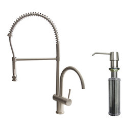 VIGO Industries - VIGO Stainless Steel Pull-Down Spray Kitchen Faucet with Soap Dispenser - This stylish and durable faucet is sure to give your kitchen sink a new look