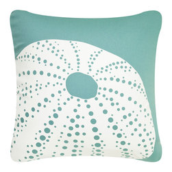 Urchin Modern Eco Coastal Throw Pillows, Shell White/Seagrass - Decorative throw pillows hand printed with a striking sea urchin exemplify beach decor. These modern pillows available in beachy shell white on seagrass or aqua provide an exquisite accent for coastal living. Designed, hand printed, and fabricated in America.