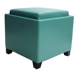 Armen Living - Contemporary Storage Ottoman with Tray, Blue - Rest a tray of cocktails or stow blankets and throws inside this stylish storage ottoman, wrapped in plush bonded leather for lasting appeal.