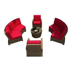 Forever Patio - Cypress 5 Piece Outdoor Curved Sectional Set, Flagship Ruby Cushions - The Forever Patio Cypress 5 Piece Rattan Outdoor Sectional Set with Red Sunbrella cushions (SKU FP-CYP-5SEC-HR-FB) provides plenty of room to entertain guests outdoors. The set seats up to 6 adults comfortably, and features Heather resin wicker with a half round design that creates a complex and luxurious look. Each strand of this outdoor wicker is made from High-Density Polyethylene (HDPE) and is infused with its natural color and UV-inhibitors that prevent damage ordinarily caused by sunlight, surpassing the quality of natural rattan. The round sofa set is supported by thick-gauged, powder-coated aluminum frames that make it extremely durable. Also included are fade- and mildew-resistant Sunbrella cushions. Designed with ample seating space, this curved outdoor sofa set brings all the comfort of a living room out to your patio.
