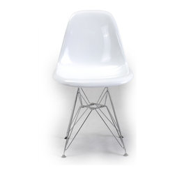 """Kardiel 1948 Eiffel Base Molded ABS Chair, White / Metal Legs - Designed in 1948, the molded shell chair took 2nd place out of 3000 entries in the International Competition for Low-Cost Furniture Design which was sponsored by the Museum of Modern Art. The shell of this series was made to fit many different base types. The term """"Dowel"""" in this series is descriptive to the Wooden Peg Leg design. The wooden dowels feature slots where the metal plates that bolt to the underside insert. The wire cross bracing adds structural stability as well as a pleasing industrial design element to the chair. This chair, like the original features a wood and steel base with a shell made of ABS plastic in the original soft satin glow sheen level. The weld points on the chrome elements of th eiffel base have been sanded and sealed. Like the original this reproduction features a """"waterfall curved edge"""" to provide seating comfort mainly at the back of the legs. The shape and dimensions of the frame and the seat are accurate, respecting the 1948 original. It comes complete with non marking floor protectors."""