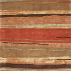 Jaipur Rugs - Transitional Abstract Pattern Red /Orange Wool/Silk Tufted Rug - BQ06, 5x8 - The Baroque collection has a simple modern aesthetic.Hand tufted in 100% wool each rug is beautifully colored to reflect todays home trends.