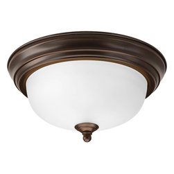 Progress Lighting - Progress Lighting P3924-20Et One-Light Close-To-Ceiling Etched Glass Bowl - One-light flush mount with dome shaped glass, solid trim and decorative knobs.