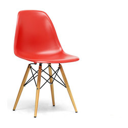 Baxton Studio - Baxton Studio Azzo Red Plastic Mid-Century Modern Shell Chair (Set of 2) - The retro simplicity of this classic red modern shell chair will instantly enhance the modernity of your room. Each of these mid-century modern dining chairs is made from durable molded plastic with an ergonomically-shaped and curved seat. The legs are wooden and include steel hardware in black as well as black plastic tips to protect sensitive flooring. To clean, wipe with a damp cloth.  This item is made in China, and assembly is required.  This item is also available in black, red, or white arm chairs or side chairs (each sold separately). Dimensions: 18.44 inches in Wide X 16 inches in Deep X 32.44 inches in Height, seat height :17.5 inches