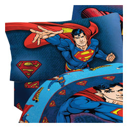 Franco Manufacturing Company Inc - DC Comics Superman Superhero 3-Piece Twin Bed Sheet Set - Features: