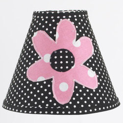 Cotton Tale Designs - Girly Standard Lamp Shade - A quality baby bedding set is essential in making your nursery warm and inviting. All Cotton Tale patterns are made using the finest quality materials and are uniquely designed to create an elegant and sophisticated nursery. Girly shade in black pin dot with applique flower measures 8 x 9 x4. Shade made in the USA. Spot clean only. Girl lamp shade.