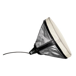 Diesel Lighting - Drumbox Table Lamp - Drumbox Table Lamp is inspired by the lamps used on photo sets, affording absolute versatility, technology, and fashionable style. Drumbox can be positioned and used freely, in which ever way you please. Available in White or Grey linen treated to become highly reflective, yet also warm and suggestive owing to its folds, teamed with non-tear super lightweight nylon, with heat sealed seams as on deep-sea divers' wetsuits. Coated Steel finish. One 20 watt, 120 volt Compact Fluorescent type Medium base bulb is required, but not included. UL listed. 17.75 inch height x 14.25 inch depth.