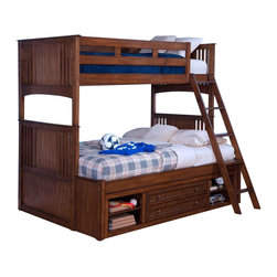 New Classic - New Classic Logan Youth Twin Over Twin Bunk Bed with Storage in Spice - An ideal solution for your youth bedroom, this Logan Youth Bunk Bed is designed to accommodate a growing child and offers convenient underbed storage. The bunk is constructed from hardwood solids and wood veneers in a warm spice finish, and comes equipped with all of the parts needed to assemble either a twin-over-twin or twin-over-full storage bunk. Headboards and footboards feature decorative slat accents for a practical aesthetic that recalls the Arts and Crafts movement if the early 1900s.The storage unit offers a large center drawer and four open shelves. A coordinating guard rail and bunk ladder are included.