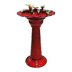 Alpine - Red Metal Birdbath - Features: