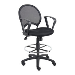 """Boss Chairs - Boss Chairs Boss Mesh Drafting Stool with Loop Arms - Open mesh back with solid metal back frame with ballistic nylon wrap. Breathable mesh fabric seat with ample padding. 25"""" nylon base. Hooded double wheel casters. Pneumatic gas lift seat height adjustment. 20"""" diameter chrome footring. Loop arms."""