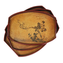 Oriental Furniture - Branch of Life Tray Set (Set of Three) - Delicately crafted and hand-finished, this set of three matching trays depict the wild branches and exquisite, translucent flowers of the plum blossom. Built with Philippine mahogany and elm wood, this set features an indigenous Fujian lacquering style consisting of seven carefully polished layers of lacquer-tree sap to create a complex, beautiful, and sturdy surface. The finish is then hand-antiqued for a gorgeous, authentic look.