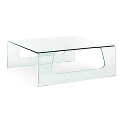 Campaign Coffee Table - Clear tempered glass coffee table