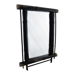 Wall Mounted Mirror with Black Bamboo Frame 19 In. X 14 In. - Add an Oriental element to your home or office with this black bamboo mirror. It measures 19 inches long, 14 inches wide, and 1 inch deep. It is painted black, has a distressed finish, and easily mounts to the wall with 2 nails or screws by the metal hangers on the back. It adds a lovely accent to entryways, bathrooms, or bedrooms and it is sure to be admired.