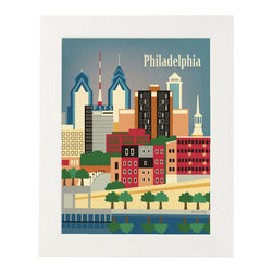 Vintage Philadelphia Print - Framed, White Frame - This digital print is produced on texturized paper that's embedded with tiny flecks and grains that give it a vintage look. Bright and minimalist with a touch of whimsy, this Philadelphia Print might just inspire you to head on down to the Cradle of Liberty.