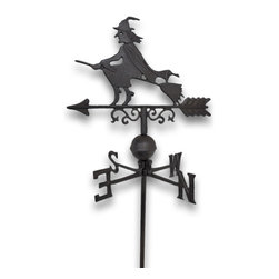 Zeckos - Flying Witch Weathervane Lawn Decoration Garden Stake - Witch way does the wind blow? This gorgeous weathervane stake featuring a broom riding witch won't give the answer, but it will blow the socks off of any visitors or passersby Historically, weathervanes were instruments used to detect weather changes by determining the direction of blowing wind, however in today's world, weather vanes like this one are also ornamental displays of culture and style. This witchy weathervane would be perfect for your front yard or garden area. It measures 40 5/8 inches high, the directional measure 11 1/2 inches wide, and the ornament (witch) is 14 1/8 inches wide. It is made of cast iron with a gorgeous rust powder coat meant to give it that highly sought after weathered appearance. Perfect for the Halloween season This would, also, make a wonderful gift for any witchy collector
