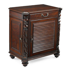Frontgate - Forsyth Double Bar Cabinet - Each side butterflies out to reveal more storage for bottles and glassware. Made of solid mahogany, with a book-matched swirl mahogany veneered top. Slightly distressed, hand-rubbed rich mahogany finish. Exceptionally crafted with dovetailed drawers. Custom hardware, with an antique brass finish, for an authentic look. An heirloom piece that could anchor any room, our exclusive Double Forsyth Bar Cabinet is richly finished with British Colonial details and thoughtfully outfitted for multifunctional use. Behind the louvered doors, the left side contains slide-out trays for stowing bar accessories and spirits, while the right side accommodates a 2.3-cubic-foot refrigerator (sold separately).  .  .  .  .  . Right cabinet includes a removable adjustable shelf . Two storage drawers . Suitable for a master suite, guest room, dining room, game room, home theater, or home office . Convenient integrated dual outlet at top back of cabinet . Vented back for optimal refrigerator performance . Part of our Sophisticated Coastal collection .