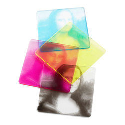 Molla Space - CMYK Coasters, Set of 4 - Based on the CMYK color model, these coasters refer to the four inks used in the color printing method, cyan, magenta, yellow and key (black). The true beauty is revealed when all four coasters are stacked together.