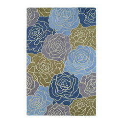 "Kaleen - Kaleen Botany Collection 4405-17 7'6"" x 9' Blue - Botany is a beautifully stunning blend of large textural high low designs for a three dimensional effect and terrific colors. Botany is destined to be a classic.   Hand crafted with pride in India of only the finest 100% Premium Virgin Wool"
