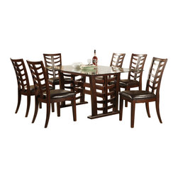 Alpine Furniture - Wisteria Dining Set - Includes dining table and six side chairs. Rectangular glass top table. Faux leather cushion. Six months warranty. Made from rubberwood solids with okume veneer. Merlot finish. Made in Vietnam.