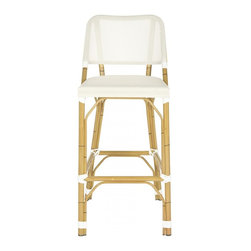 Safavieh - Deltana Barstool Beige (INDOOR/OUTDOOR) - Designed with casual tropical vibe, the beige Deltana indoor-outdoor barstool by Safavieh is styled with classic wrapped detailing on its faux bamboo frame.  Crafted of PE wicker and aluminum, this transitional barstool is easy care, weather resistant and equally pretty at a kitchen or patio counter.