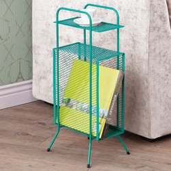 Coaster - Storage Table, Teal - A simple and effective storage solution for small spaces and nooks. This metal storage table features a tall rectangular compartment, a top shelf and sturdy metal legs with rubber grip feet.