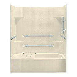 Sterling - Sterling Accord 71140115 60W x 72H in. ADA Bathtub Shower Combo with Grab Bars a - Shop for Tubs from Hayneedle.com! The Sterling Accord 71140115 60W x 72H in. ADA Bathtub Shower Combo with Grab Bars and Right Side Seat is a brand-new bathroom addition with major functionality! This ADA-adaptable unit includes a comfortable shower seat that mounts directly to the back wall and rests on the apron plus it comes with grab bars. These stainless steel grab bars at strategic positions horizontally and vertically on the back and end walls. It's an ideal bath for the elderly or handicapped but it achieves a high level of safety without sacrificing any of its style! The high apron tile wall pattern and molded in shelving make it a very attractive addition to any decor and it will serve you and your family well for years to come! Sterling has a reputation for high-quality construction and like all of their other bathroom products this unit is built from solid Vikrell. The compression-molded Vikrell is a Sterling exclusive that provides strength durability and a lasting beauty that you can customize with your own choice of finish. Kohler almond Kohler biscuit and pure white are all available with a coating of high-gloss that creates a smooth shiny surface which looks marvelous and is incredibly easy to clean. Lastly this CSA-certified bathtub and shower combo measures 60W x 30D x 72H inches and utilizes a modular 4-piece design with hassle free pivot snap together installation. Choose from either the left-hand or right-hand drainage hole model depending on your home's unique setup.Product Specifications:Overall Height: 72 inchesOverall Width: 60 inchesOverall Depth: 32 inchesHeight (Back Panel): 72 inchesWidth (Back Panel): 60 inchesThickness (Back Panel): 1 inchHeight (Side Panel): 72 inchesWidth (Side Panel): 32 inchesThickness (Side Panel): 1 inchBase Shape: Oval in rectangleInstallation Type: AlcoveNumber of Thresholds 1Drain Placement: Left or rightAbout Sterli