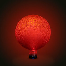 Achla - Red Frosted 10 in. Gazing Ball - These magical glass globes create an ethereal aura when lit up in the garden or on the patio, especially on dark, winter nights. An internally placed LED light runs on solar energy collected during the day by the small panel, which can be staked nearby. The gem-like quality of these orbs is unsurpassed in beauty. 10 in. Dia. crackle glass globe with an electrified LED bulb fitted inside (5 - 8 year life). Separate plug-in solar collector which has a lithium battery, light sensor, and on/off switch. Solar collector panel comes with a plastic stake to place nearby. Remote stake allows one to conveniently face the collector towards the maximum direct exposure to the sun, which should give the orb 6-8 hours of light per charge. Light sensor automatically turns the orb on once natural light fades. Construction Material: Glass. No Assembly Required. 10 in. W x 10 in. D x 12 in. H (6 lbs.)