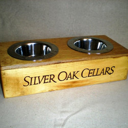 Wine Crate Pet Bowl- Silver Oak - Ignite Images