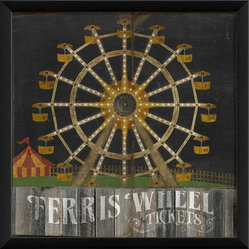 The Artwork Factory - Ferris Wheel on Black Framed Artwork - Light up your decor like a vintage carnival at night with retro-chic ferris wheel print on your wall. This museum quality print will put a smile on your face and a little fun and nostalgia in your home.