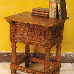 """Carved single-drawer Spanish colonial accent table / night stand - BC-TBL-10-NIGHT: Based on an antique table from a Spanish colonial garrison town high in the Peruvian Andes, this hand-carved accent table / night stand measures 24"""" L x 20"""" D x 30"""" H."""