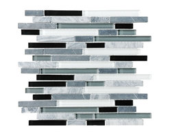 Rocky Point Tile - 10 Square Feet - Bliss Midnight Random Strip Glass and Stone Mosaic Tiles - Hand-painted glass tiles in black, white and shades of gray in between complement cool gray stone strips to create a jazzy mosaic. Makes a wonderful kitchen backsplash behind a stainless steel or granite countertop — or behind solid black or white. For extra pop, install it next to a candy red countertop in the kitchen or bathroom.