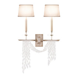 Fine Art Lamps - Cascades Sconce, 750450ST - A beautiful drape of hand-cut crystals twinkles under the light like water falling in slow motion, elevating this two-lamp sconce to a realm of grace and wonder. The sconce's straight, symmetrical design contrasts with the flowing crystal drape below.