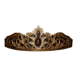 Hickory Manor House - Flambeau Bed Crown in Espresso Finish - Vintage original. Custom made by artisans unfortunately no returns allowed. Enhance your decor with this graceful bed crown. Made in the USA. Made of pecan shell resin. 31 in. L x 10 in. W (12 lbs.)