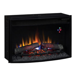 "ClassicFlame - ClassicFlame 25-In SpectraFire Plus Curved Electric Fireplace Insert - 25EF031GR - The ClassicFlame 25"" Electric Firebox 25EF023GRA has a curved front for a modern look. This insert plugs into a standard 120V household outlet and can be operated with or without heat. The 25EF023GRA features an on screen function indicator, digital thermostat, 6 flame brightness settings, timer, and multi-function remote control. A 1 year limited manufacturer's warranty is also included."