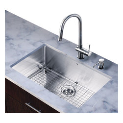 Vigo Industries - 19 in. Undermount Kitchen Sink and Faucet Set - Includes soap dispenser, matching bottom grid and sink strainer