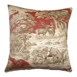 The Pillow Collection - Feramin Toile Pillow Redwood Front - Decorate your home with lavish throw pillow with a toile print pattern. This square pillow creates dimension and depth with its intricate wildlife design in Redwood hues. The color combination of red, brown and white creates an interesting mix of details. This decor pillow is made from 100% cotton fabric. The details featured in this accent pillow show the front view of the Feramin Toile Pillow Redwood. Hidden zipper closure for easy cover removal.  Knife edge finish on all four sides.  Reversible pillow with the same fabric on the back side.  Spot cleaning suggested.