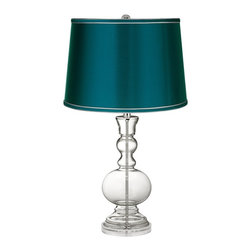 Color Plus - Clear Fillable - Satin Teal Shade Apothecary Table Lamp - This apothecary-style Clear Fillable designer glass table lamp features a stylish teal blue satin drum shade. The apothecary style glass table lamp offers a wonderful style accent. The clear glass base can be filled with your favorite collectible - from seashells to glass beads, the possibilities are endless! The design features a clear lucite base and is topped with a stylish teal blue satin drum shade. Lamp base U.S. Patent # 8,899,798.