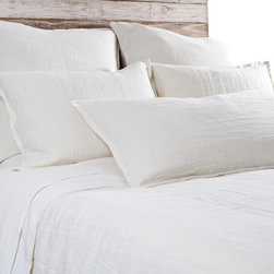 "Pom Pom at Home - Pom Pom at Home Montauk Cream Duvet Cover - Pom Pom at Home's bedding and accessories lend lived-in elegance to everyday experiences.�� A simple design, the Montauk duvet cover delivers luxurious comfort with a heavy weight linen construction. This soft bedding's cream fabric offers a beautiful accent to a transitional bedroom. Made from 100% linen. Machine washable. Insert not included. Queen: 88""W x 88""H. King: 90""W x 104""H. 0.5"" flange."