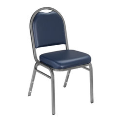 National Public Seating - National Public Seating 9200 Series Dome Vinyl Padded Stack Chair - Whether it's for the cafeteria, corporate banquets or casual gatherings, the upholstered Dome Back stacking chair is built to fit! The vinyl seat cushions are durable and easy to clean. The fabric cushions are soft and comfortable. In addition, the self-leveling plastic glides make these chairs very inch floor-friendly. Inch introducing a dolly easily makes groups of these chairs very portable.