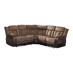 Homelegance - Homelegance Vera Sectional Reclining Sofa in Chocolate Microfiber & Brown Vinyl - End reclining seats bookend the exceptionally comfortable Vera collection. The channel tufted chocolate textured plush microfiber seating is accented with dark brown bi-cast vinyl base and sides. Pull tab recliners extend the end seating of this sectional offering with the center seats remaining fixed allowing for you and your family and friends to relax in comfort.