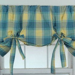 RLF HOME - Duncaster Porcelain Tie-up Valance - This stylish tie-up valance features a wonderful blue and yellow plaid. This valance is finished with a self-made fabric ties for and adjustable height.
