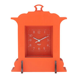 WOLF - Wooden Jigsaw Grand Mantel Clock, Orange - Easy and fun to assemble (no tools required), this clock creates a 3-dimensional appearance out of four flat wooden cross-sections stacked back-to-front, reminiscent of a pop-up book construction.